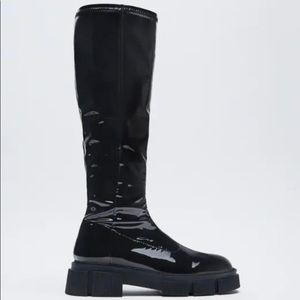 Zara Stretchy Patent Finish Boots